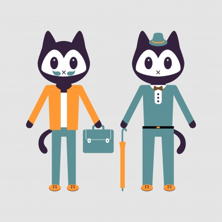 Illustration of two stylish kitty friends Vector