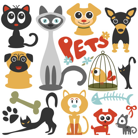 dog cat: Set of cute little pets cats and dogs