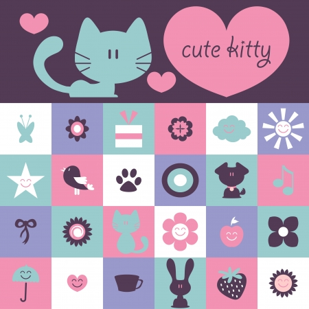 Scrapbook design cute kitty and various elements Vector