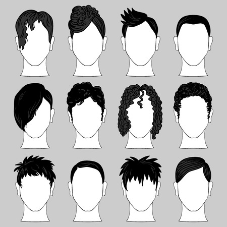 men hair style: Set of various male haircuts