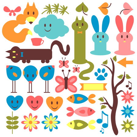 Set of cute animals and floral elements Vector