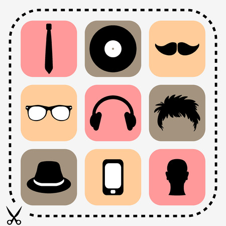 Set of stylish hipster icons Vector