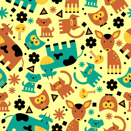 Seamless pattern with cute funny animals Stock Vector - 23864543