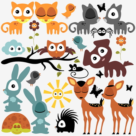 Set of various cute funny animals Vector