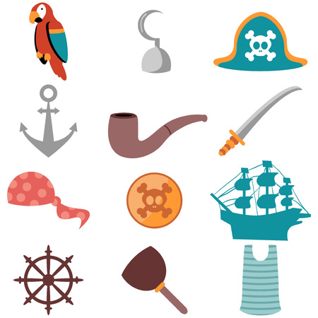 Set of various pirate icons Vector