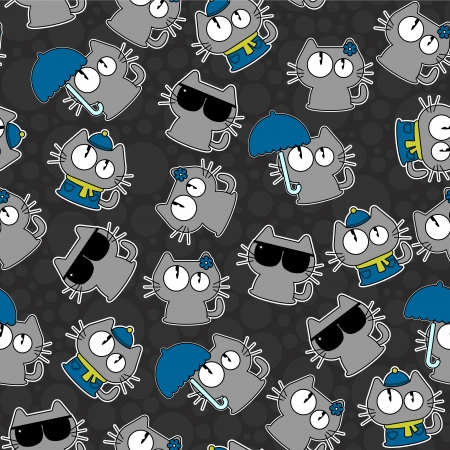 Cute seamless pattern with funny cats