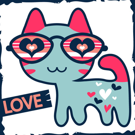 sweet love: Romantic illustration of cute kitty in glasses