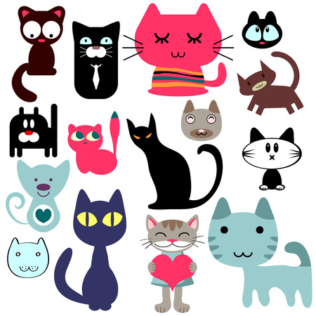 Set of various cute cats Vector