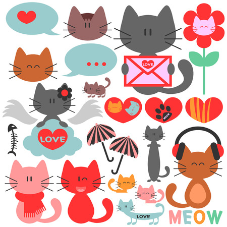 Various cute kittens collection Vector