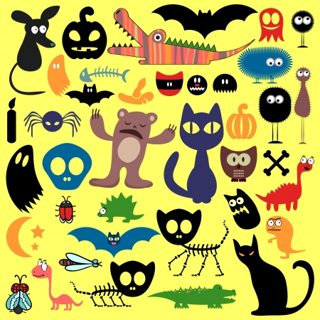 Scary animals and evil things set Vector