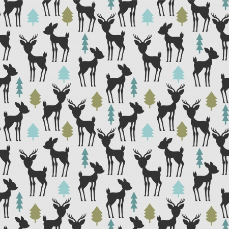 Seamless pattern with deer and trees Vector