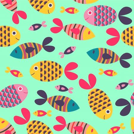 bunter fisch: Nahtlose Muster mit bunten Fischen Illustration