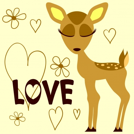 Romantic illustration of a cute fawn Иллюстрация