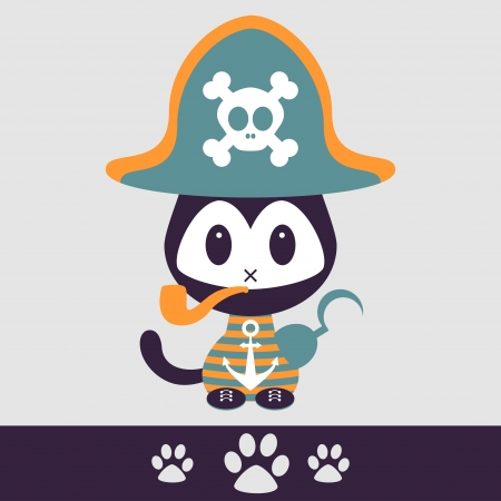 Illustration of a cute kitty pirate Vector