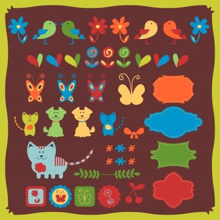 Cute babyish animal set Vector