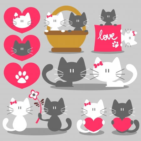 cat paw: Two cats romantic valentine set