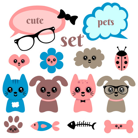 Set of cute happy animals and random elements Vector
