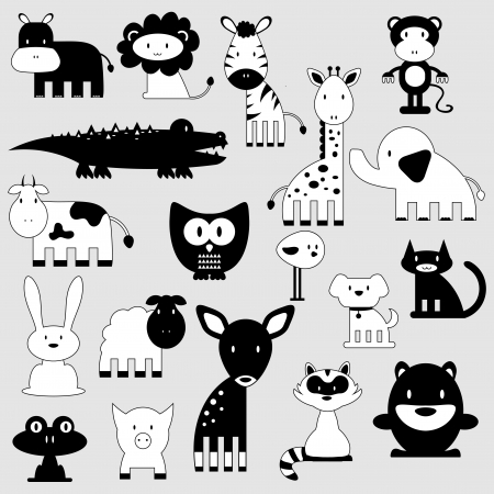 animal silhouette: Cute cartoon animals set wild and domestic