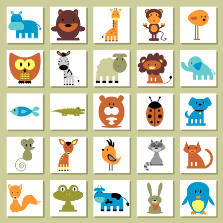 lion and lamb: Set of random animal images Illustration