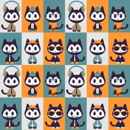 Seamless pattern with kittens in fashionable clothes Vector