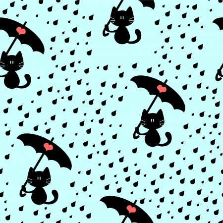 Seamless pattern with cute kitties under the rain Vector