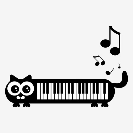 Cute piano kittty illustration Vector