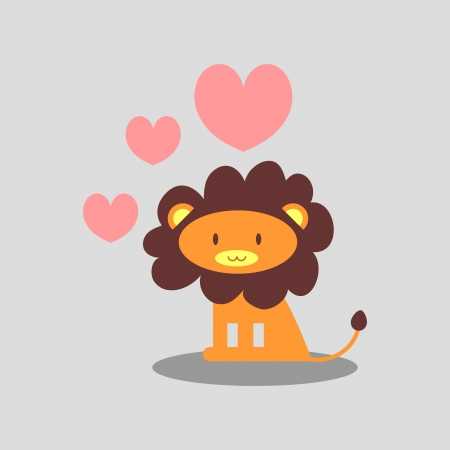 Cute lion in love romantic illustration Vector