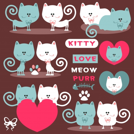 Cute romantic elements with pretty cats Illustration