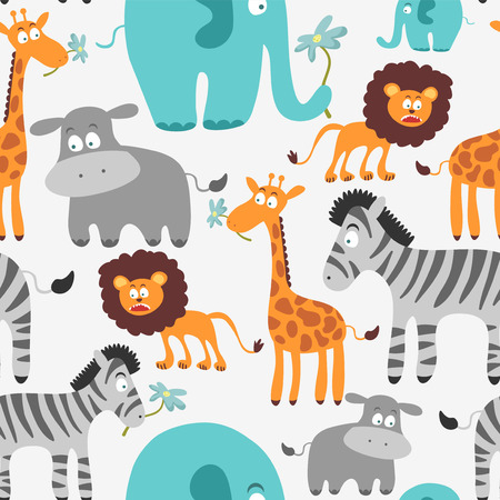 Cute seamless pattern with African animals Vector