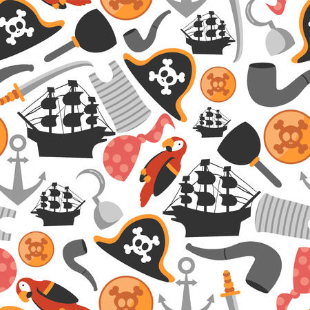 Seamless pattern with various pirate elements Vector