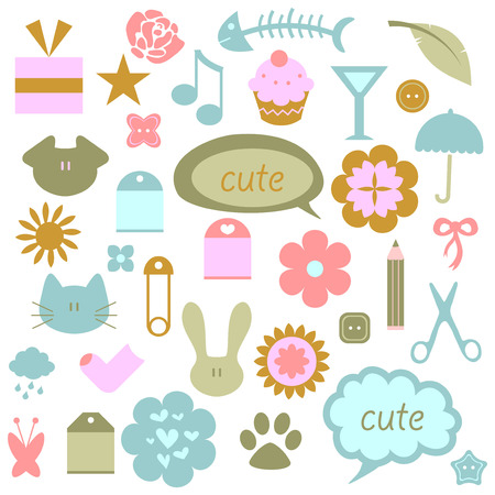 A set of cute babyish elements Vector