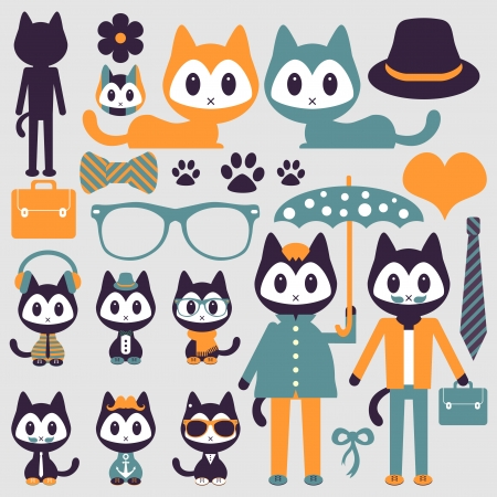 Set of cute funny stylish kittens Vector