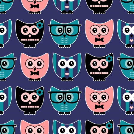 babyish animal: Seamless pattern with cute various owls