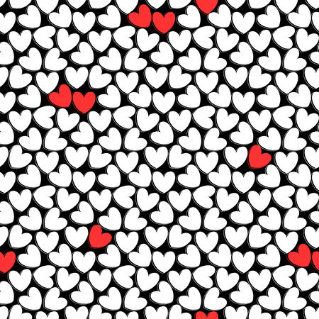 Cute romantic seamless pattern with hearts Vector
