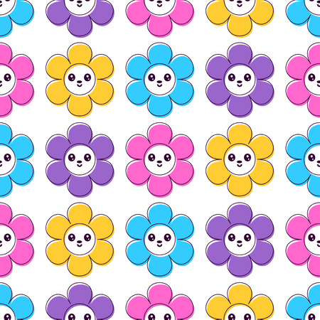 babyish: Cute seamless pattern with smiling colorful flowers Illustration