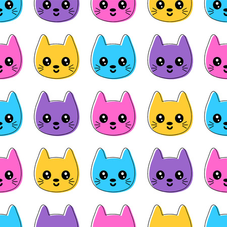Cute seamless pattern with smiling colorful cat faces Vector