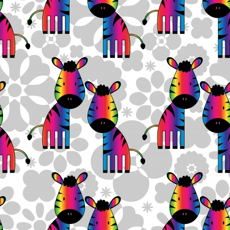 Seamless pattern with funny rainbow zebras Vector