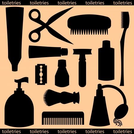 productos de aseo: Conjunto de varios art�culos de higiene personal Vectores