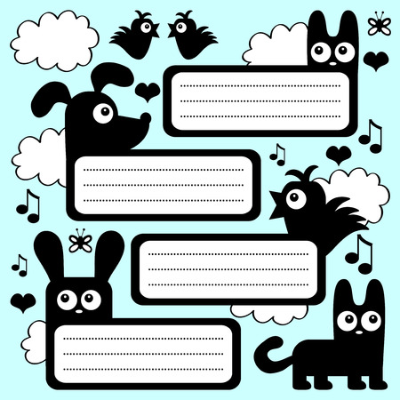 Scrapbook set with cute animals Vector