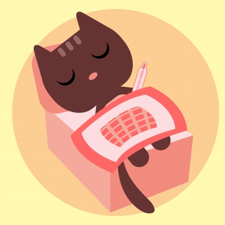 Ill kitty lying in bed with thermometer Stock Vector - 25438714