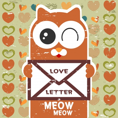 babyish: Vector card cute cat holding a love letter Illustration