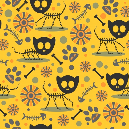 Seamless pattern with cute cat skeletons Illustration
