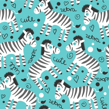 Childish seamless pattern with cute zebras Vector