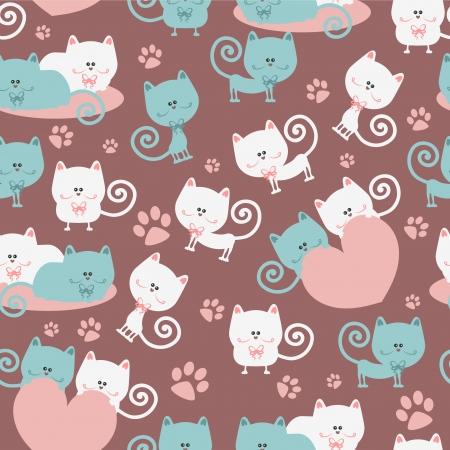 love cute: Cats in love cute seamless pattern