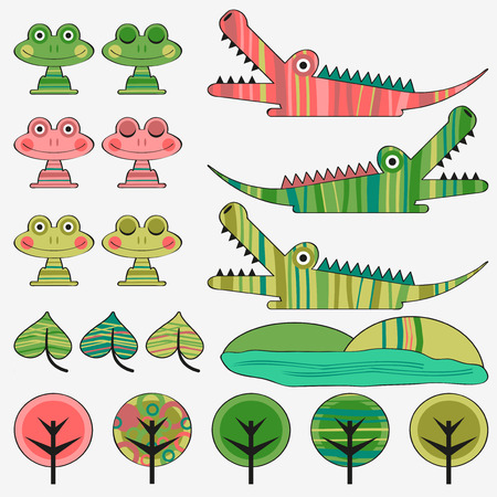 Frog and crocodile cute childish set Vector