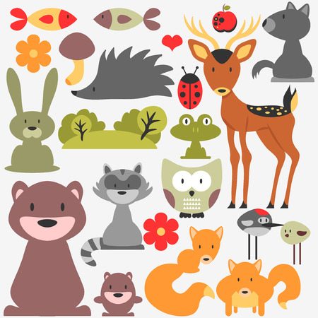 Set of cute wild animals Vector