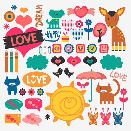 Sweet various scrapbook elements set Vector