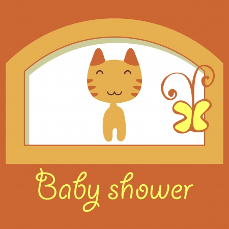 Cute baby shower card with little kitty Vector
