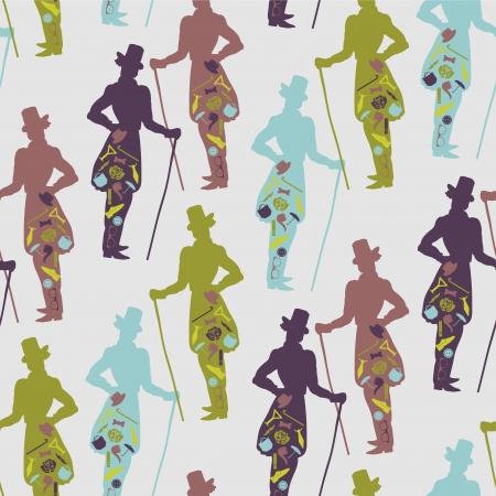 dandy: Seamless pattern for gentlemen dandy style
