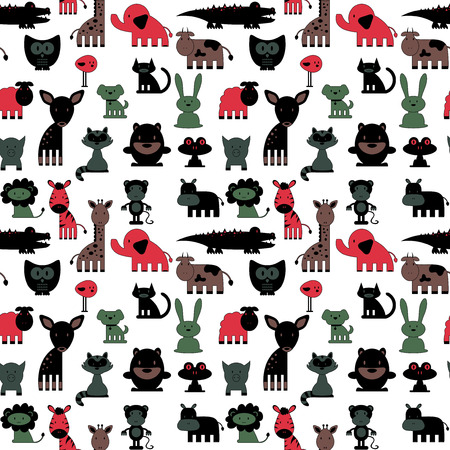 owl cute: Seamless pattern with cute various colorful animals wild and domestic Illustration